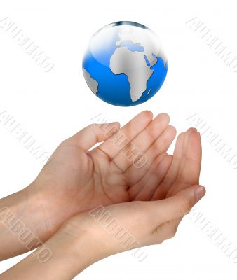 Woman hands holding shining blue globe