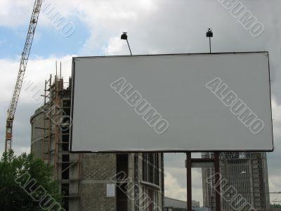 A blank Billboard near construction