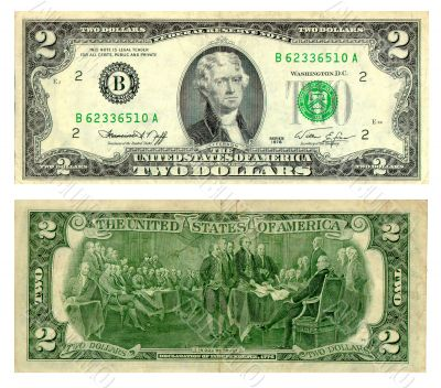 Old two dollar banknote isolated over white background