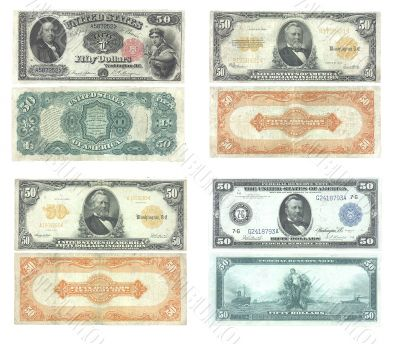 Set of old and rare United States 50 dollar banknotes