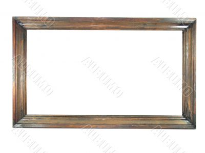 Old antique wooden picture frame with empty place for text or image isolated