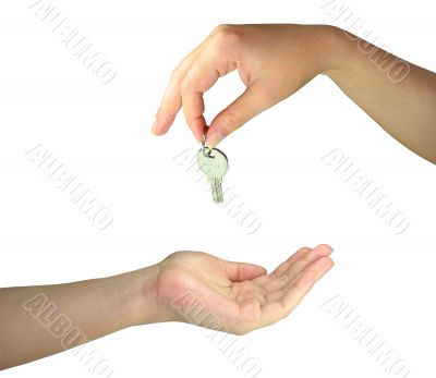 Two woman hands giving one another the key isolated over white