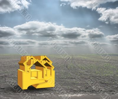 A 3D concept house on money and cloudy sky