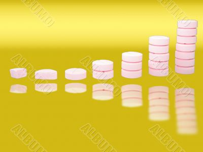Ladder from pharmaceutical drugs with reflectons over gradient background
