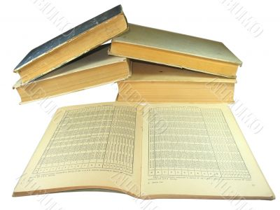 old yellow books with Mathematics tables isolated on white