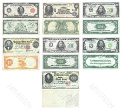 Set of old and rare United States 100, 500, 1000 and 10000 dollar banknotes