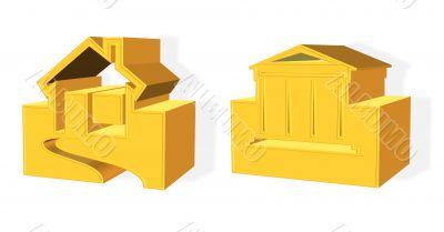 3D golden house real estate concept