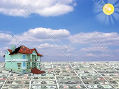 A 3D concept house on money and blue sky background