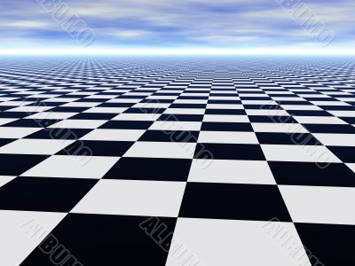 Chess black and white infinite floor and cloudy blue sky
