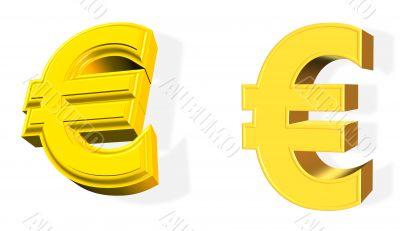 3D golden Euro symbol over white