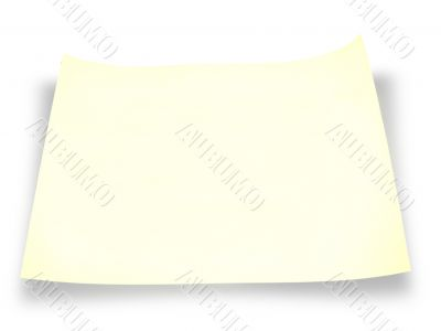 A piece of yellow paper with shadow over white background