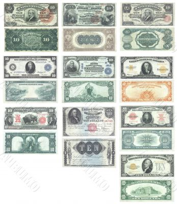 Set of old and rare United States 10 dollar banknotes