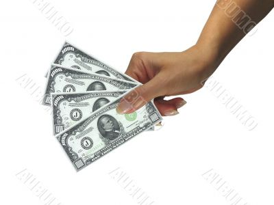 Human lady hand giving cash dollars isolated over white backgrou