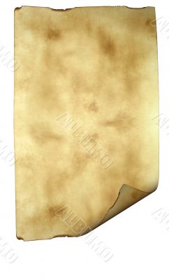 Old paper background parchment with curled burned edges isolated