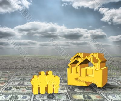 A 3D concept house and famyly on money with cloudy sky backgroun
