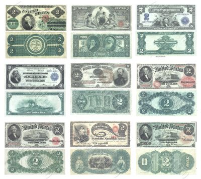 Set of old and rare United States 2 dollar banknotes