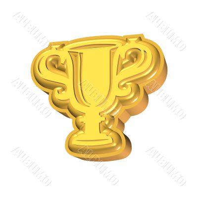 3D rendered golden cup