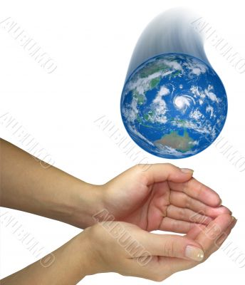 Human lady hands catching falling earth globe isolated