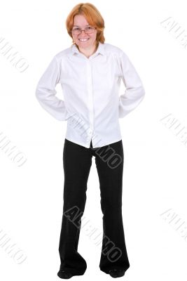 Confused girl on a white background