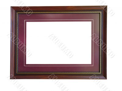 Empty wooden picture frame with a decorative pattern