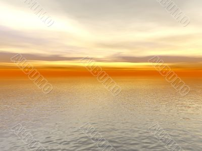 red sunset over ocean water 3d high quality rendered