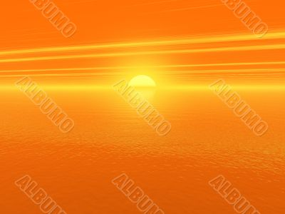 bloody red sunset over ocean water 3d high quality rendered