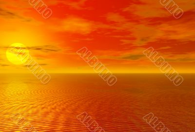 Bloody red sunset over ocean and cloudy sky 3D high quality rend