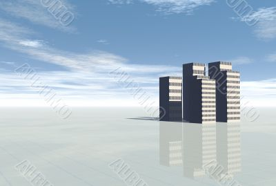 3d Conceptual city skyscrapers on blue sky and rainbow