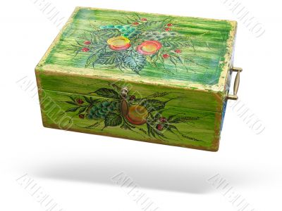 Antique green decorated wood box isolated over white background