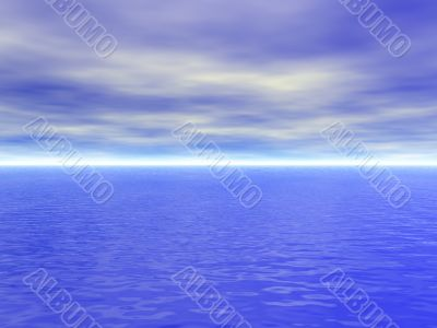 Ocean water with waves and cloudy blue sky - high quality 3D ren