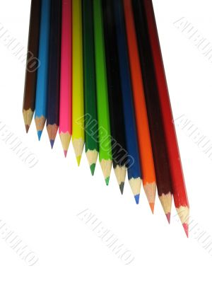 Ladder from Color pencils isolated over white background
