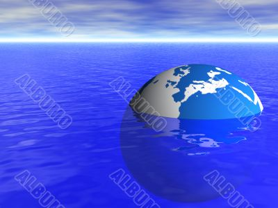 planet earth globe floating in blue ocean and cloudy sky background