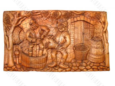 ancient vintage wooden Bas-relief about vine manufacturing