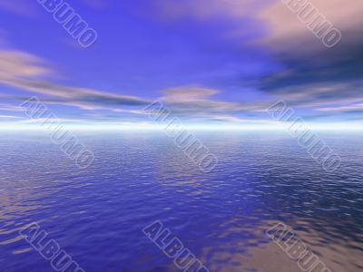 Ocean water and cloudy blue sky 3D high quality rendered