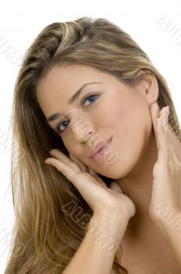 posing attractive blonde woman
