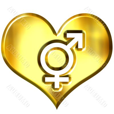 3d golden heart with combined gender signs