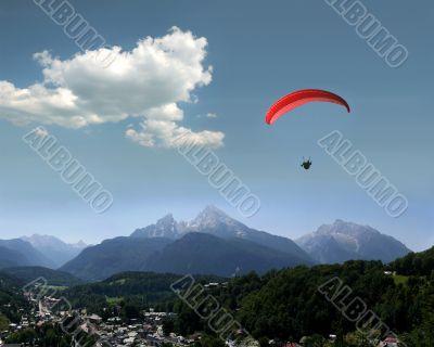 Alps, Watzmann, Berchtesgaden and Paraglider