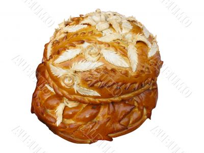 nice baking bread isolated over white background