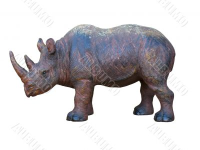 art wooden hand made rhinoceros isolated on white background