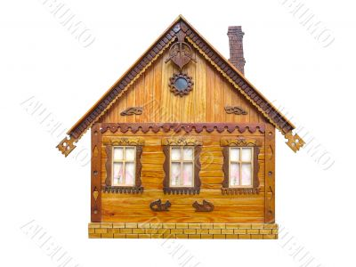 wooden house real estate concept isolated over white background