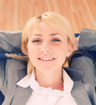 Relaxing businesswoman