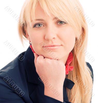 Portrait of attractive businesswoman on chair