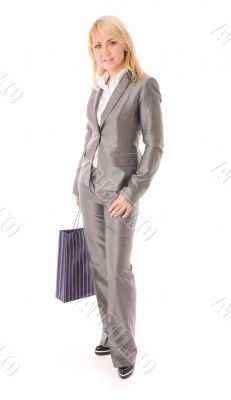 Portrait of happy businesswoman with bag