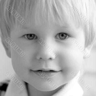 black and white portrait of child