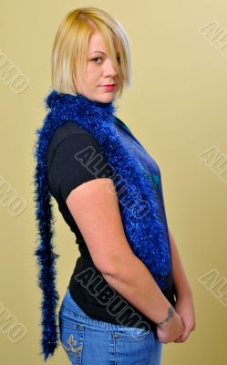 Blond Woman with a Blue Scarf