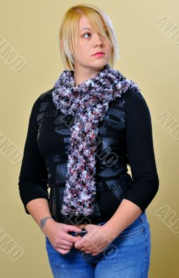 Blond Woman with Mottled Scarf