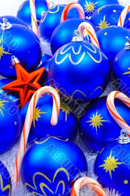 Blue Ornaments with Red Star and Candy
