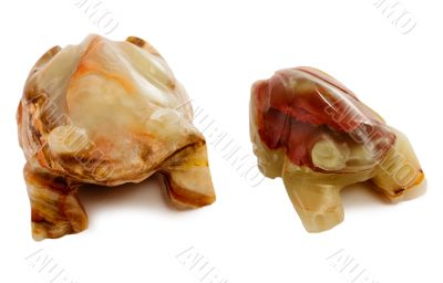 Two stony statuette of frog