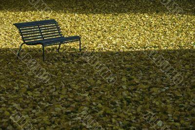 Empty green bench horizontal