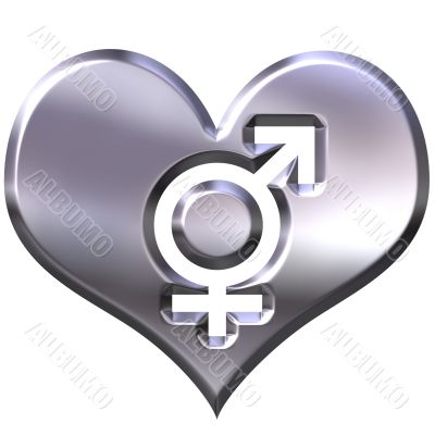 3d silver heart with combined gender signs